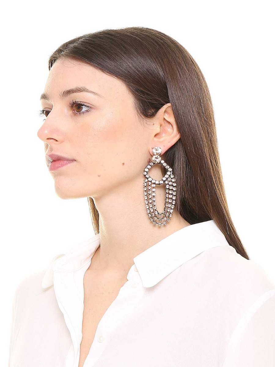 Rhinestone pendent earrings