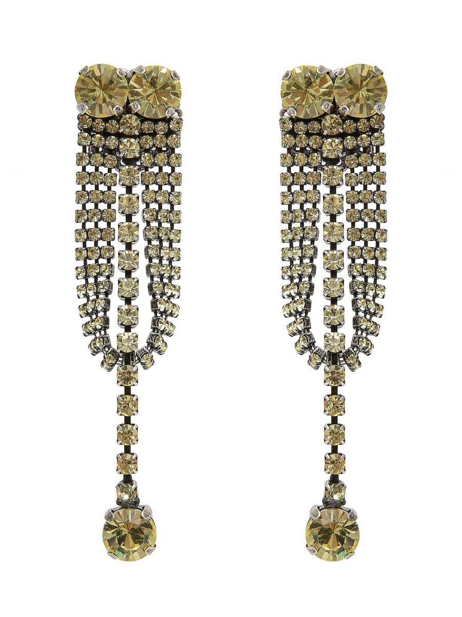 Rhinestone pendent earrings