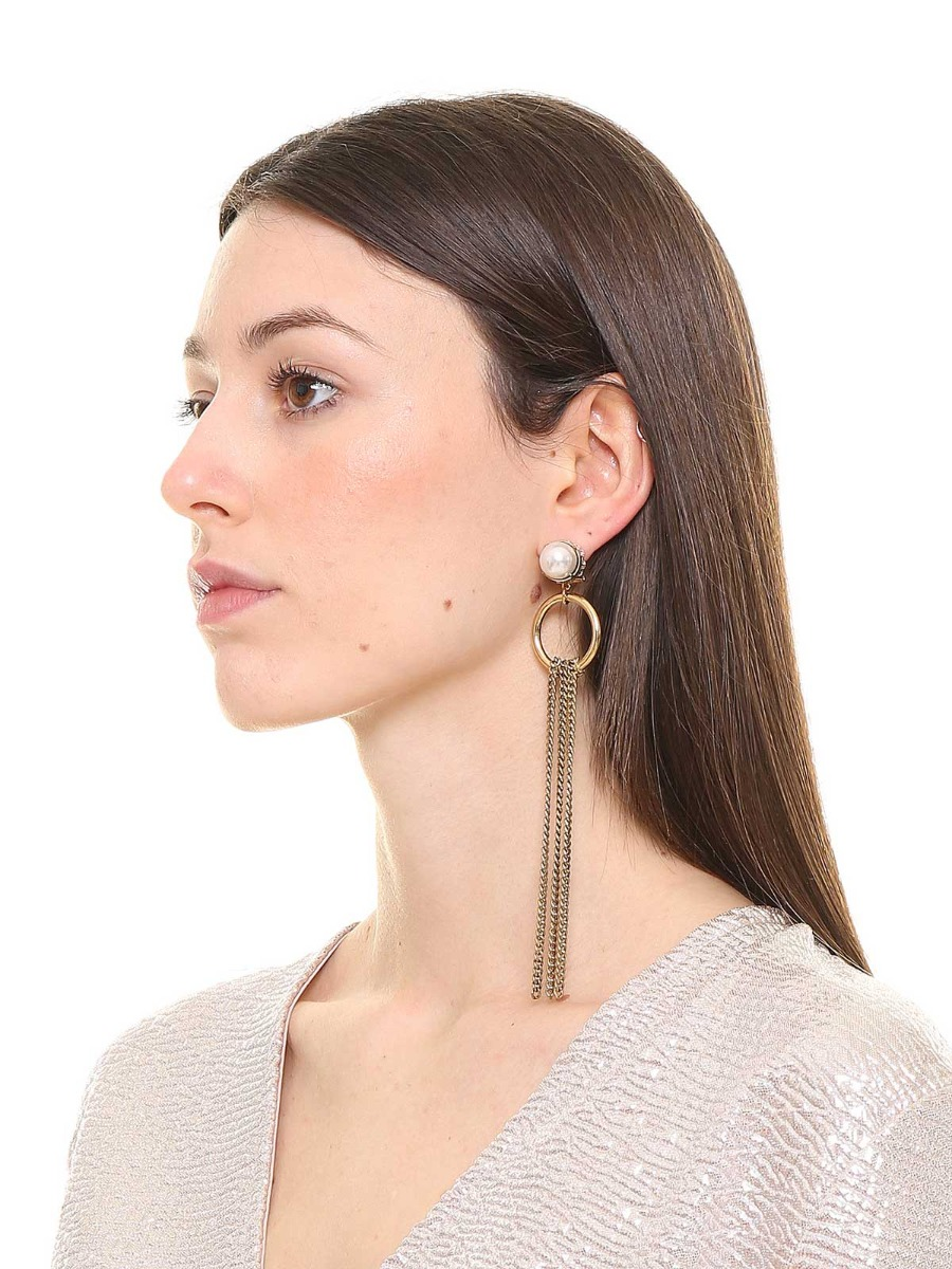 Geometric earrings with cascade chain fringe