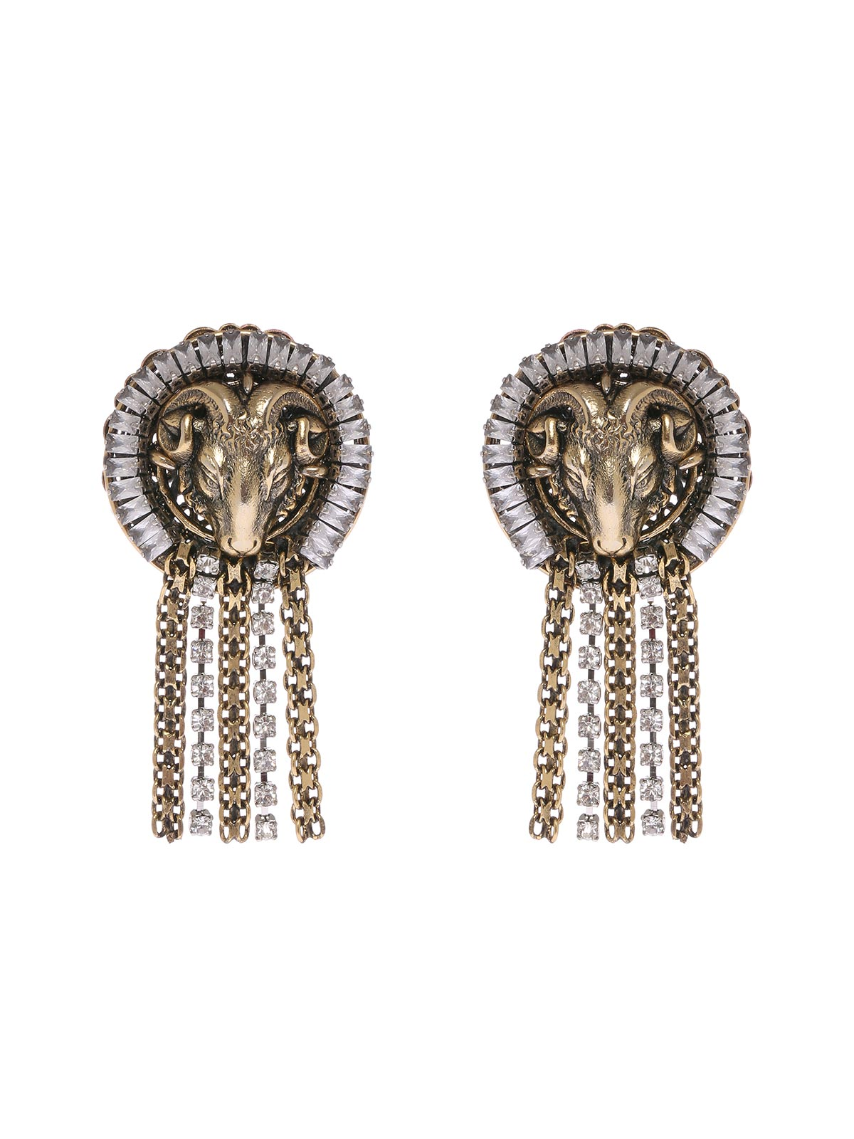 Aries earrings with crystals and cascade chain
