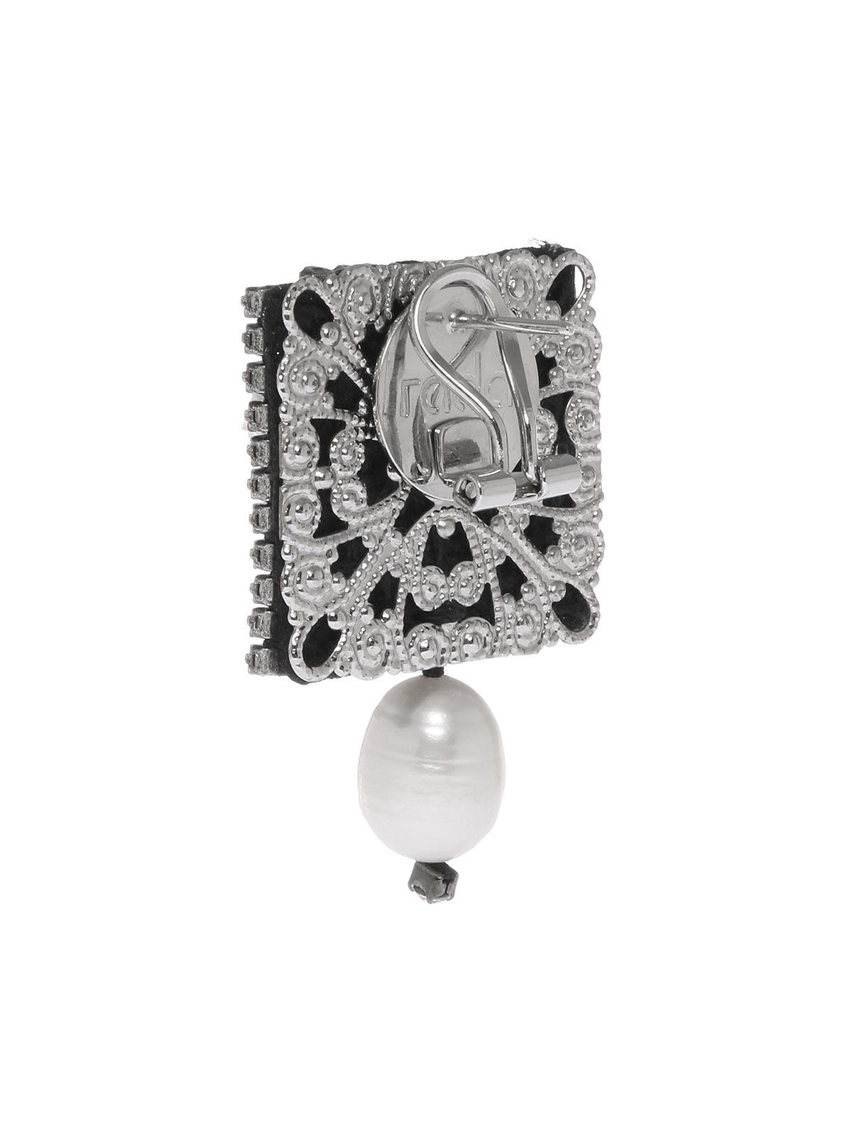 Orecchini ariete con cristalli e perla