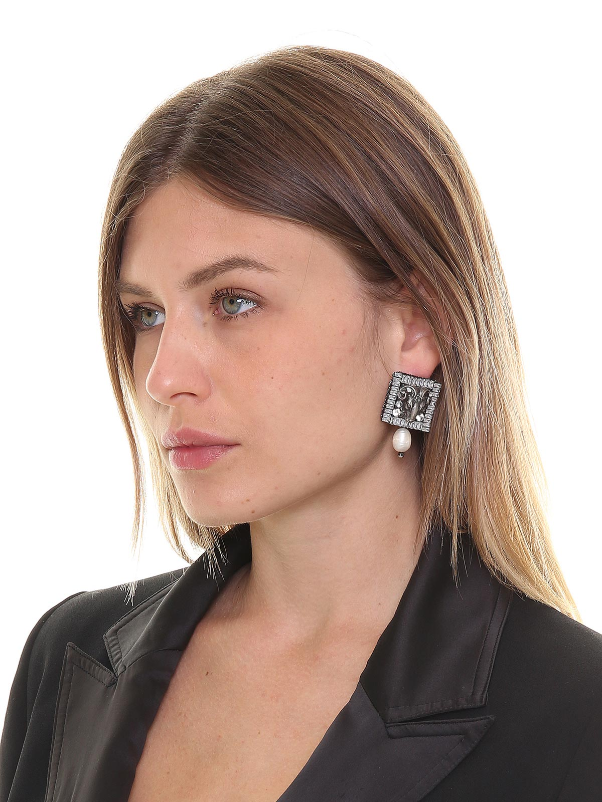 Aries earrings with crystals and drop