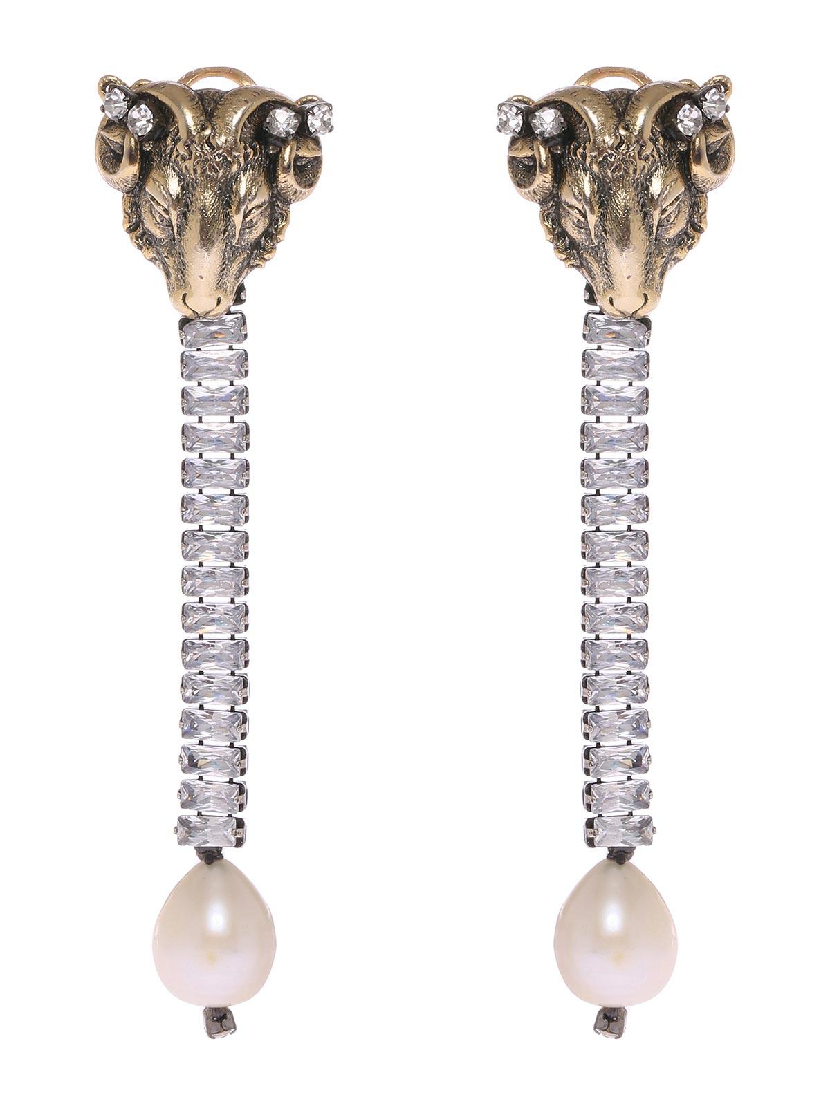 Orecchini ariete con pendente di cristalli e perla