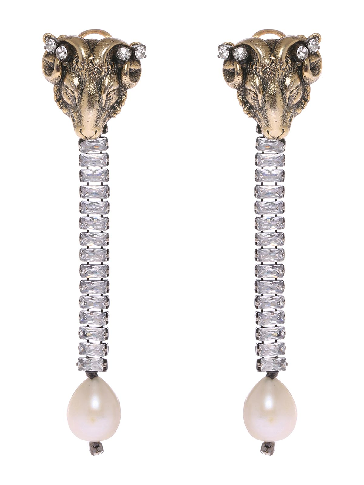 Aries earrings with pendent crystals and pearl