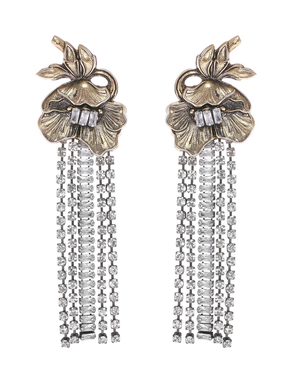 Orecchini floreali con cristalli a cascata