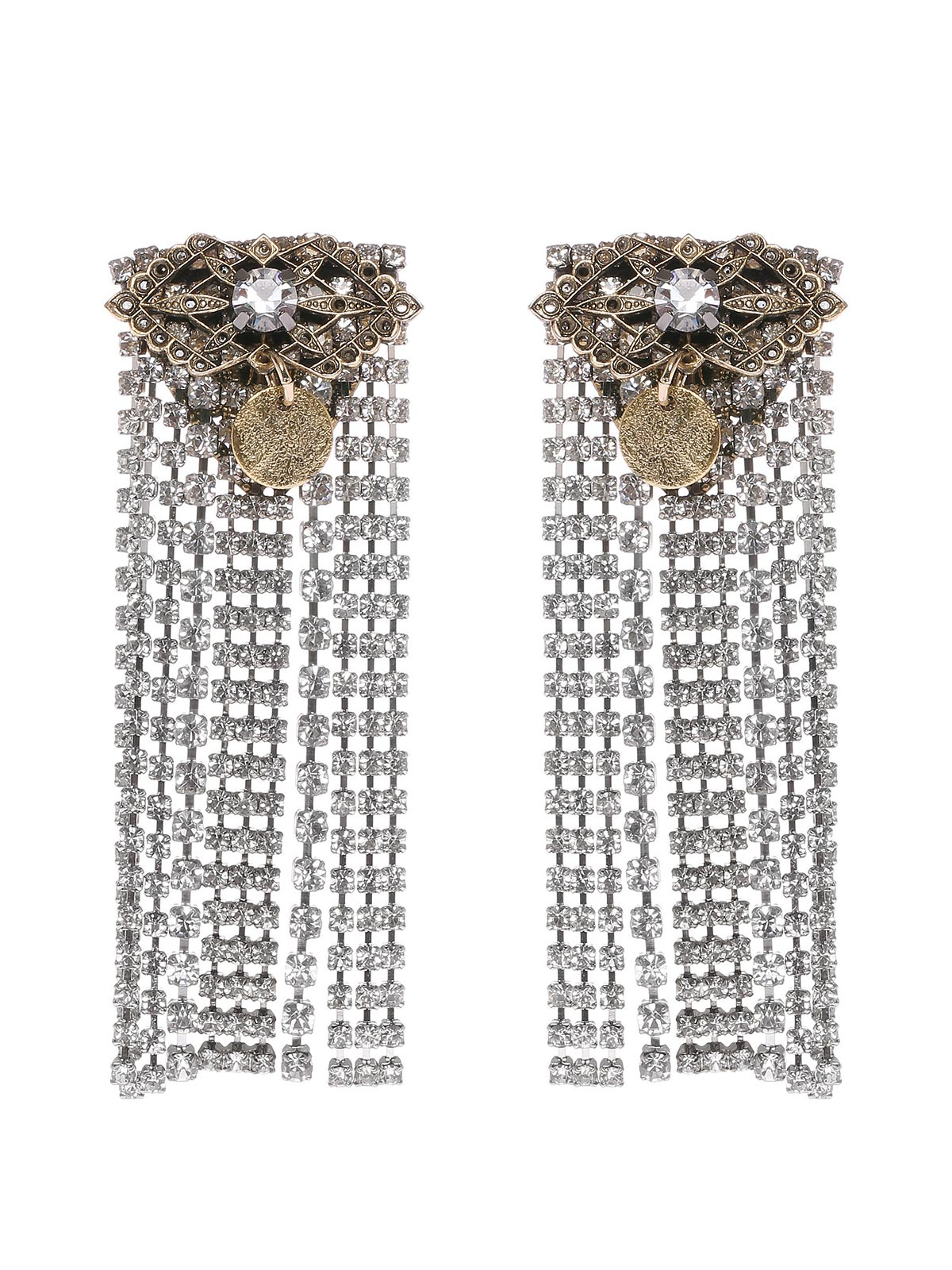 Floral earrings with crystals cascade