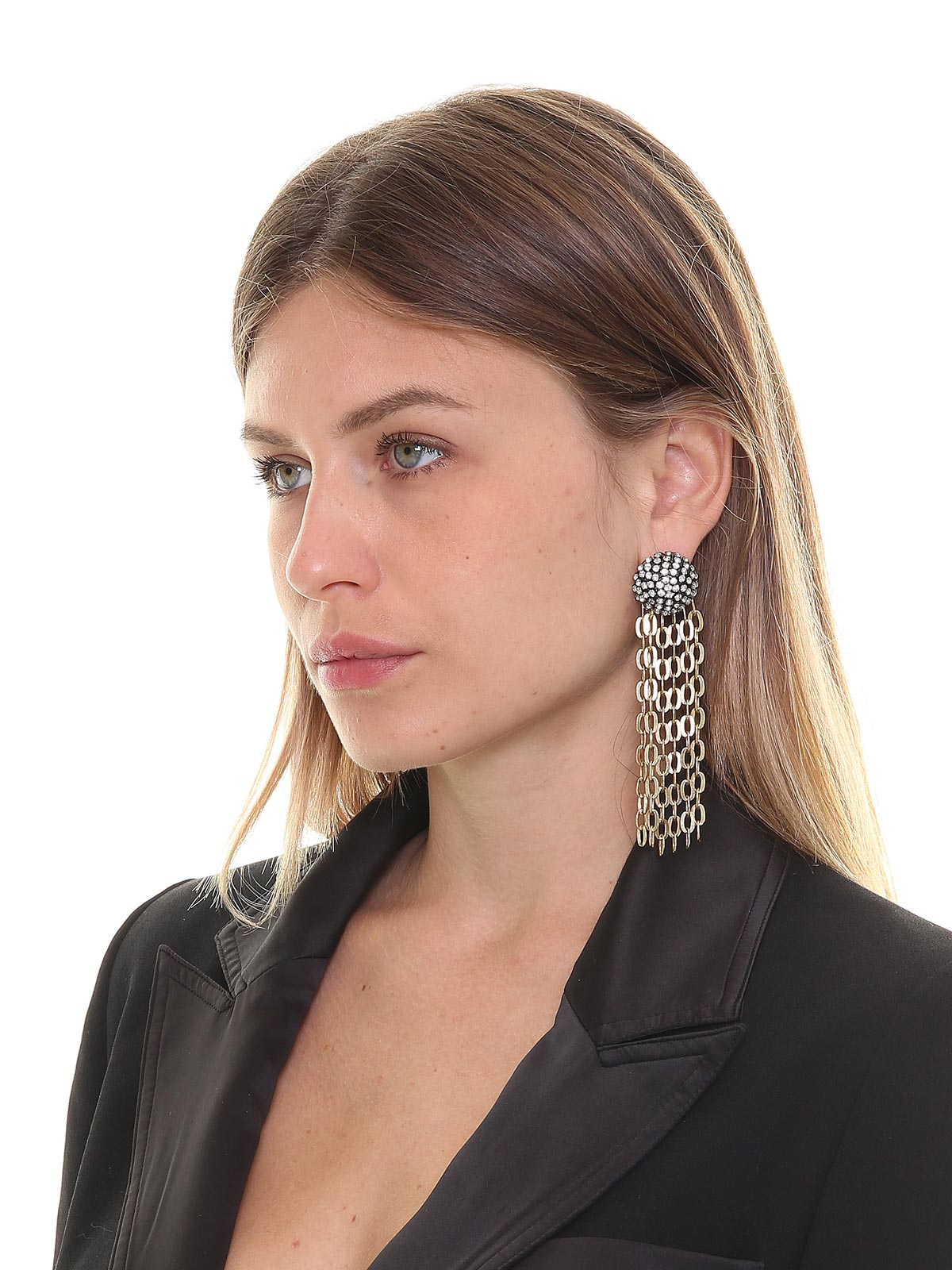 Botton earrings with crystals and chain cascade