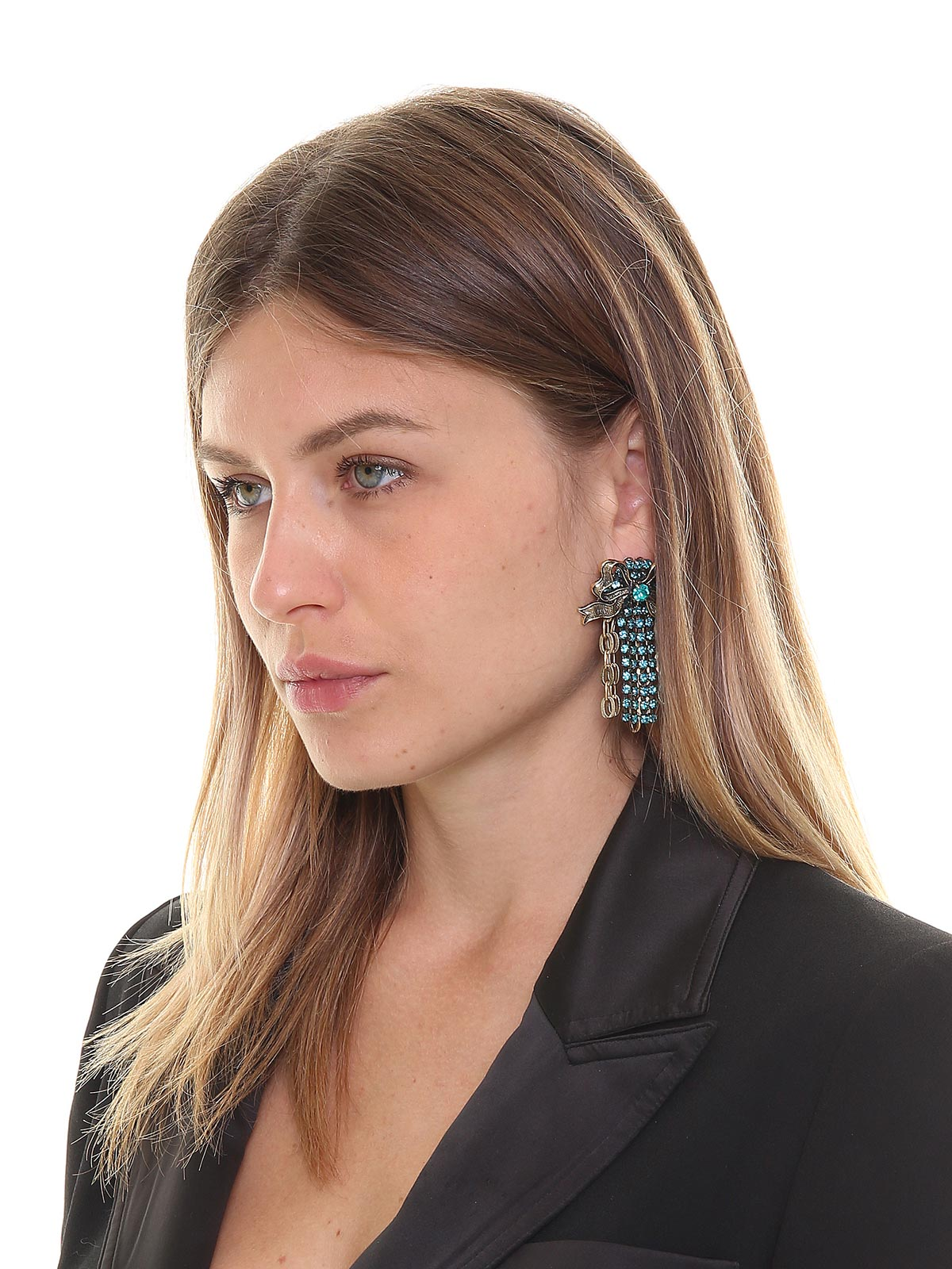 Floral brass earrings with crystals and chain cascade