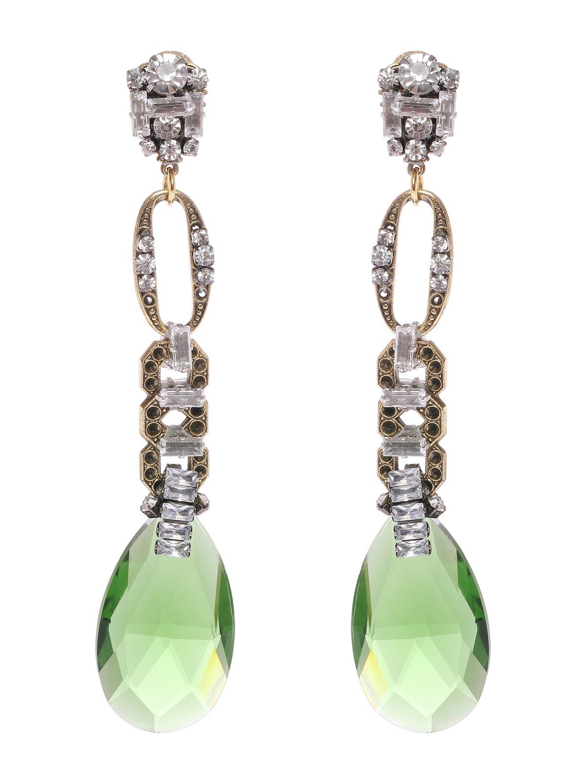 Crystal earrings with drop pendant