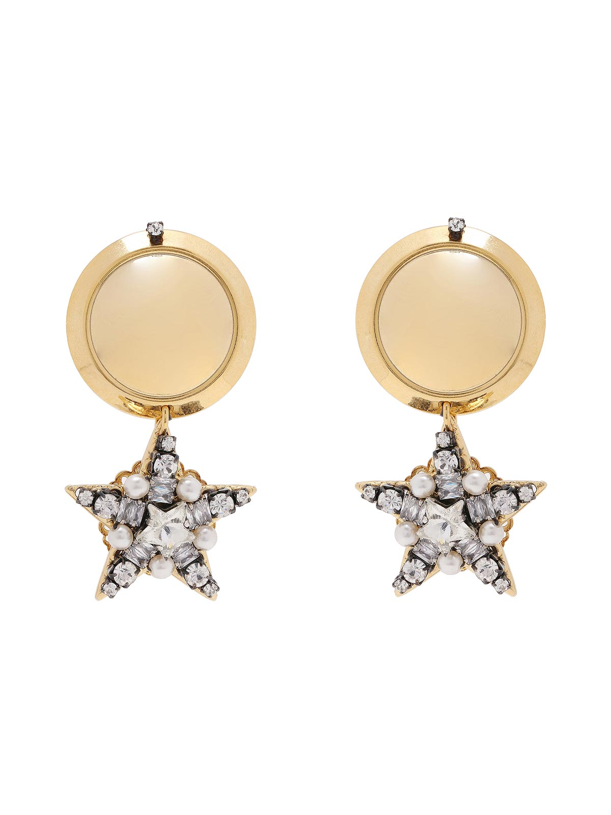 Botton earrings with pendant  star shaped