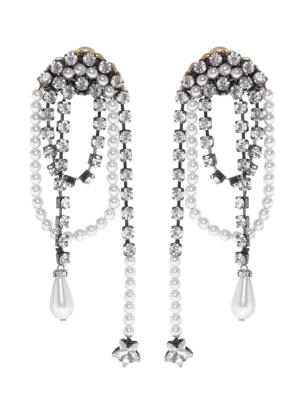 Pendant earrings with crystal and beads