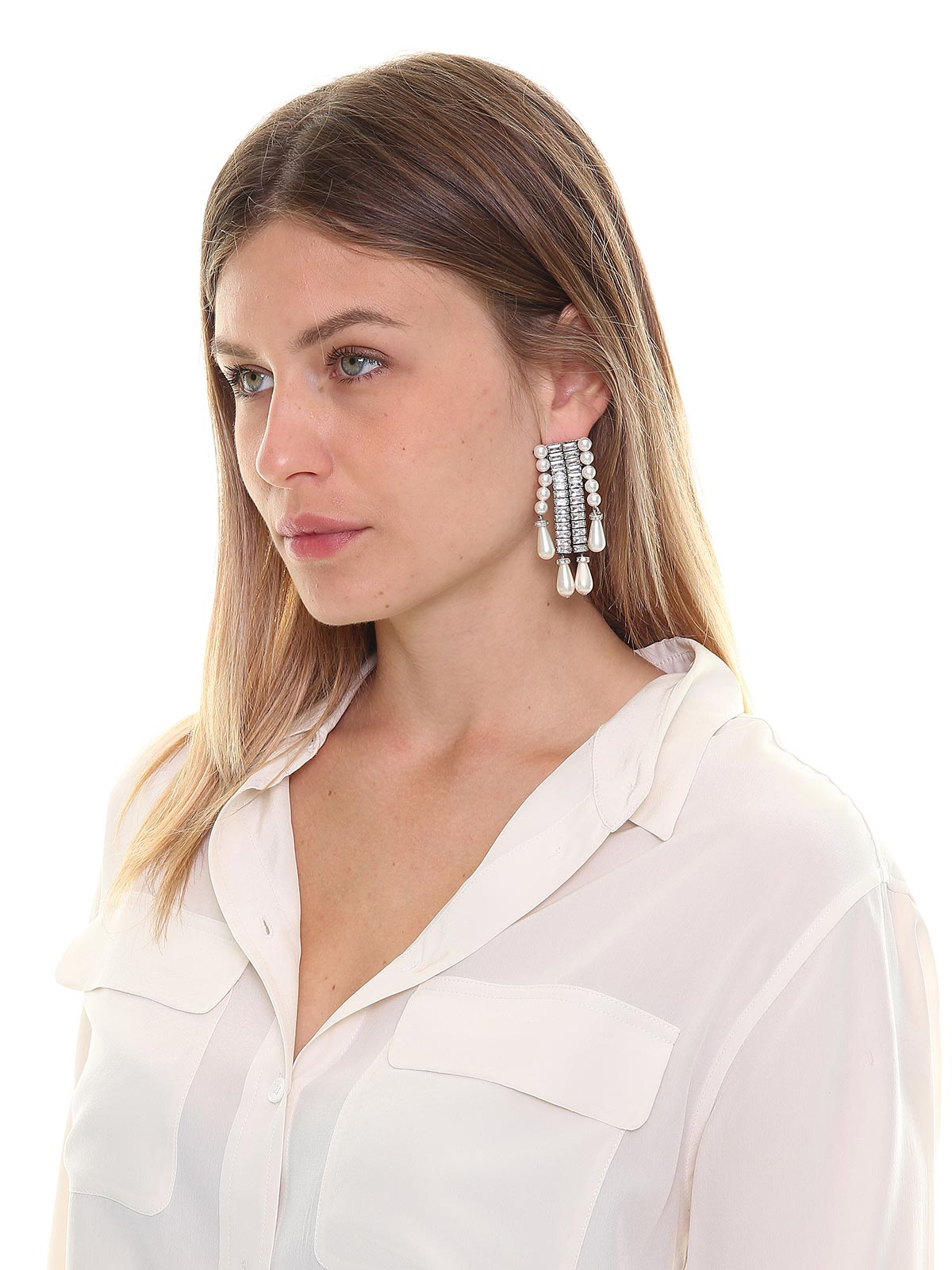 Crystal and pearls earrings with drop pendant