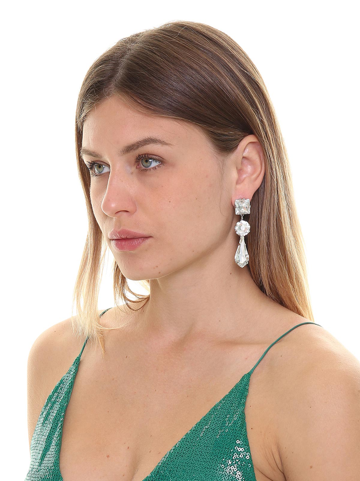 Pendant earrings with crystal drops