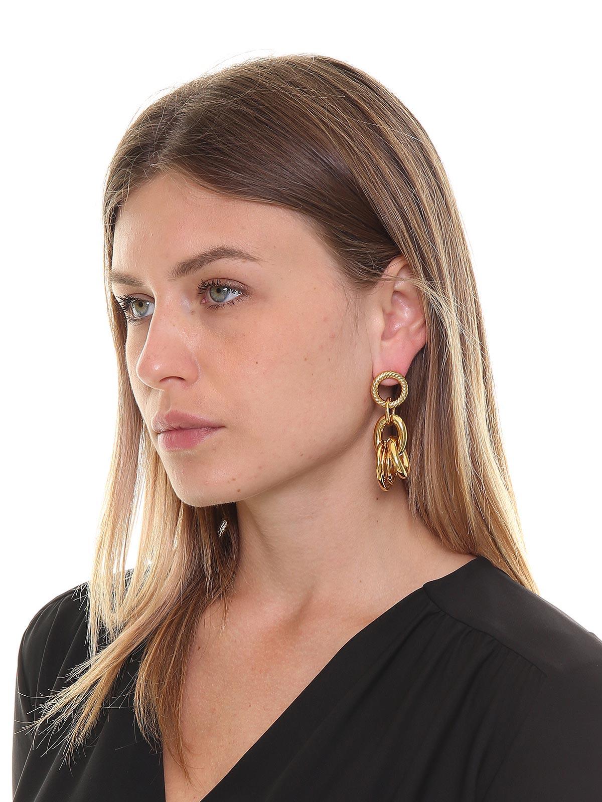 Mixed brass chain earrings