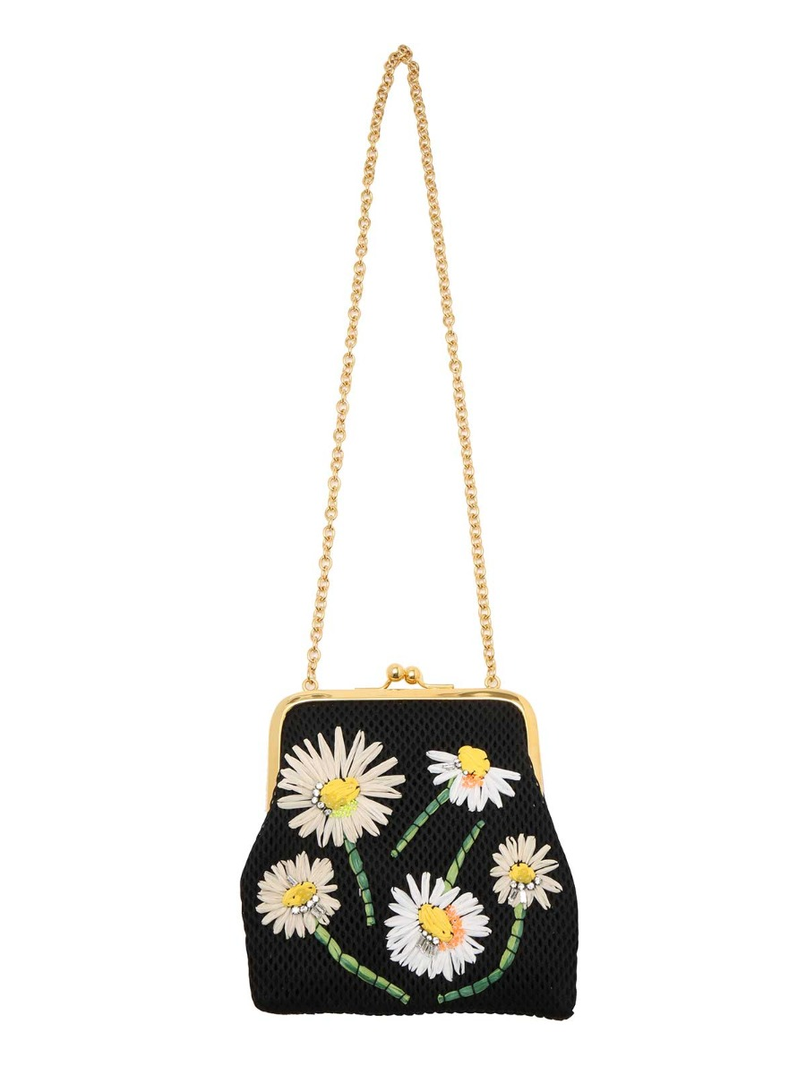 Borsa a mano con decorazioni floreali in raffia