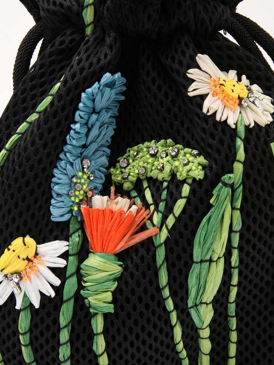 Borsa a secchiello in rete con decorazioni floreali