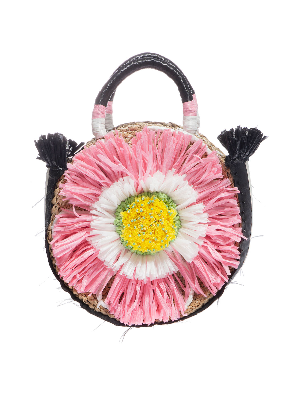 Hand-woven and embroidered straw bag