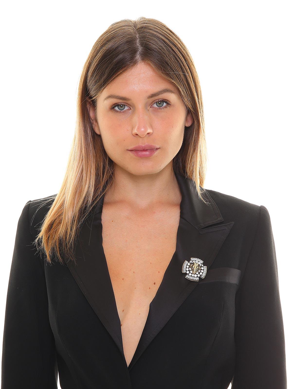 Spilla croce maltese con ariete e cristalli