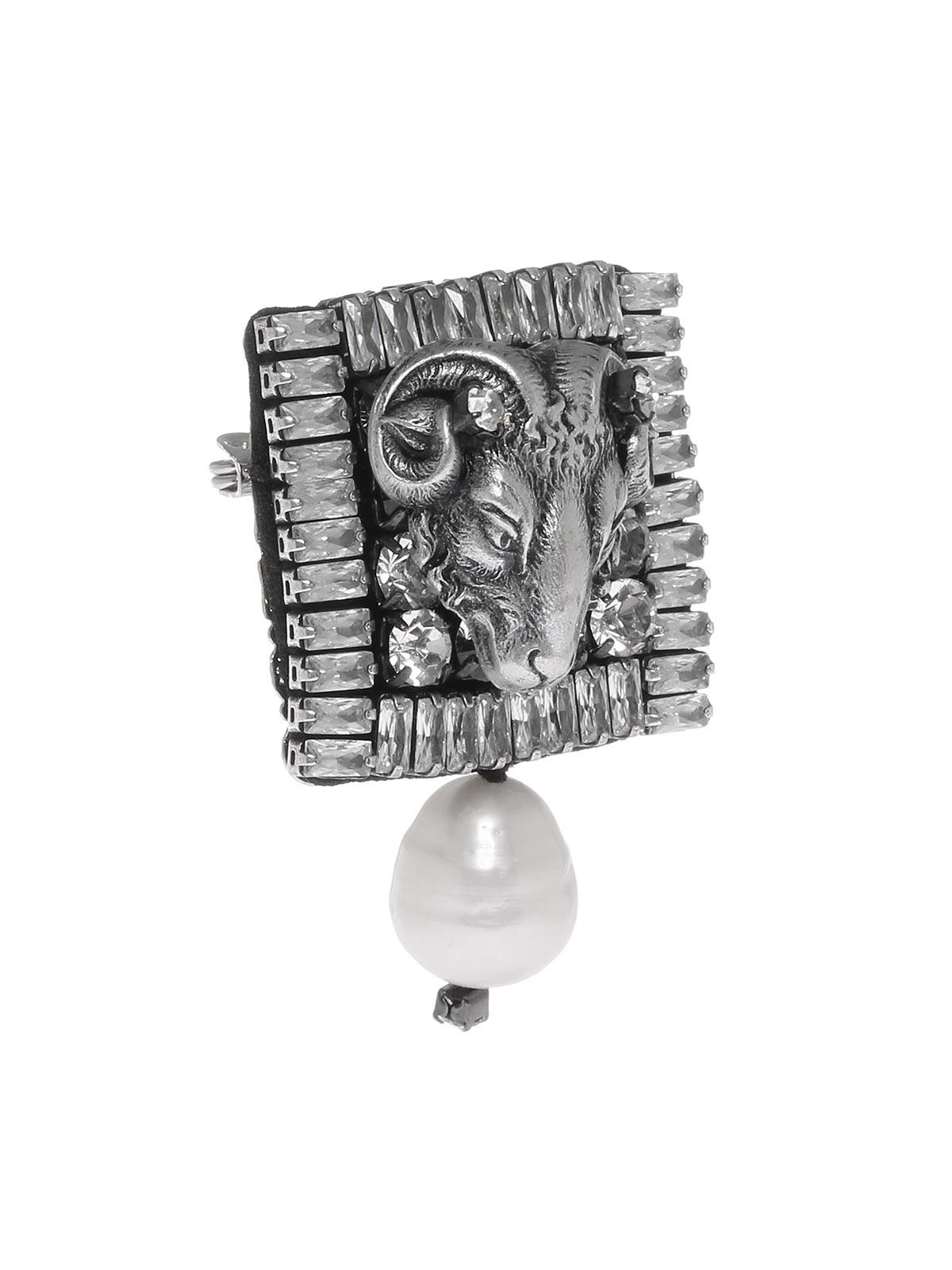 Spilla ariete con cristalli e perla goccia