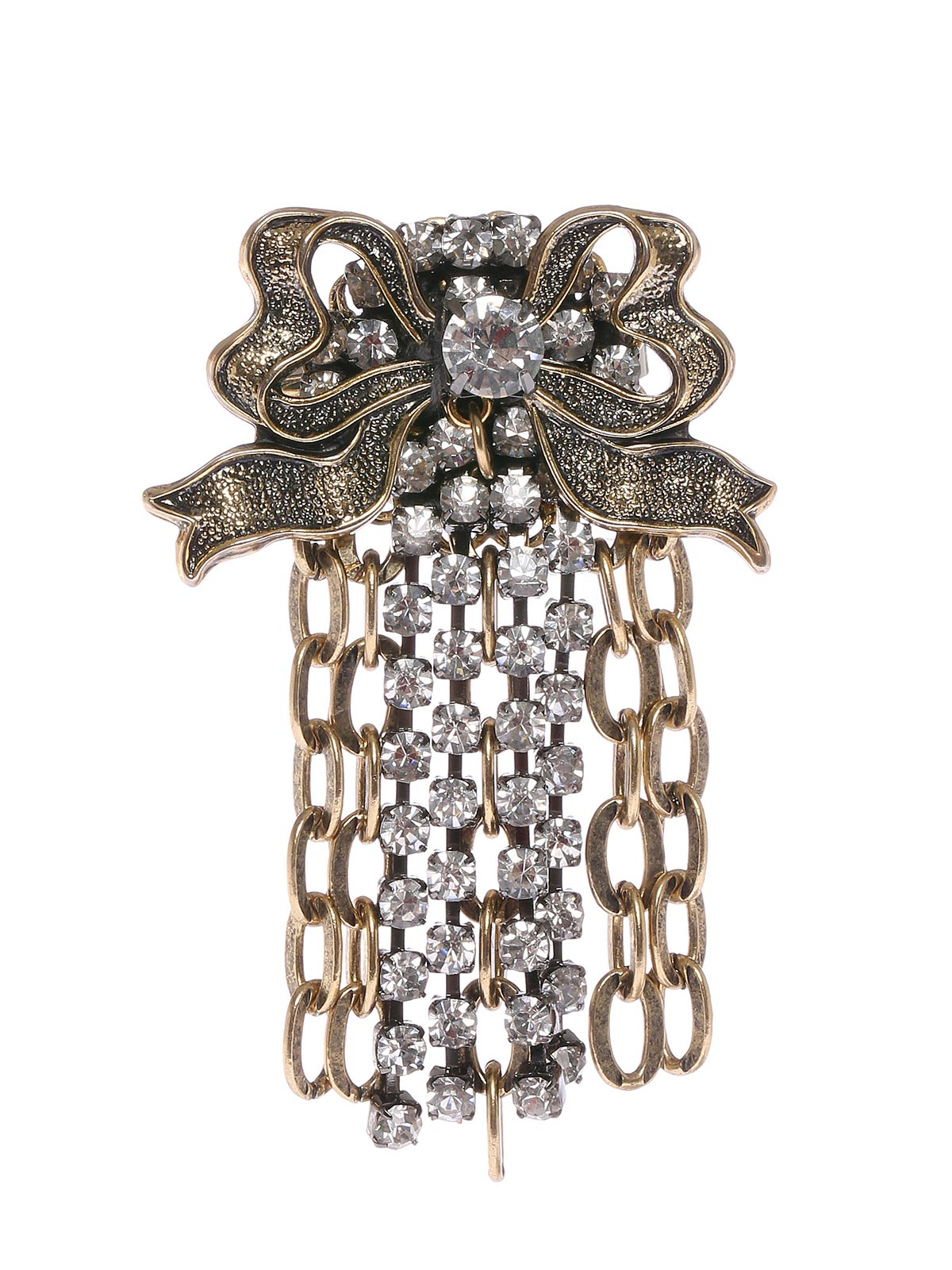 Floral brooch with crystals cascade