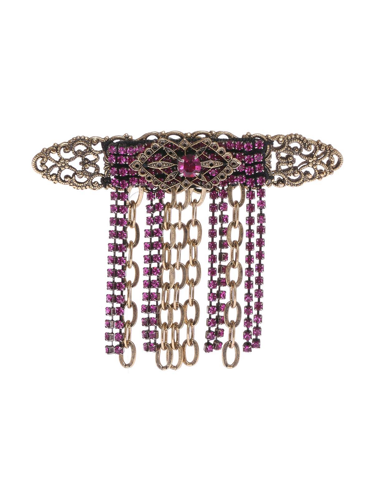 Spilla floreale in ottone con catena e strass a cascata