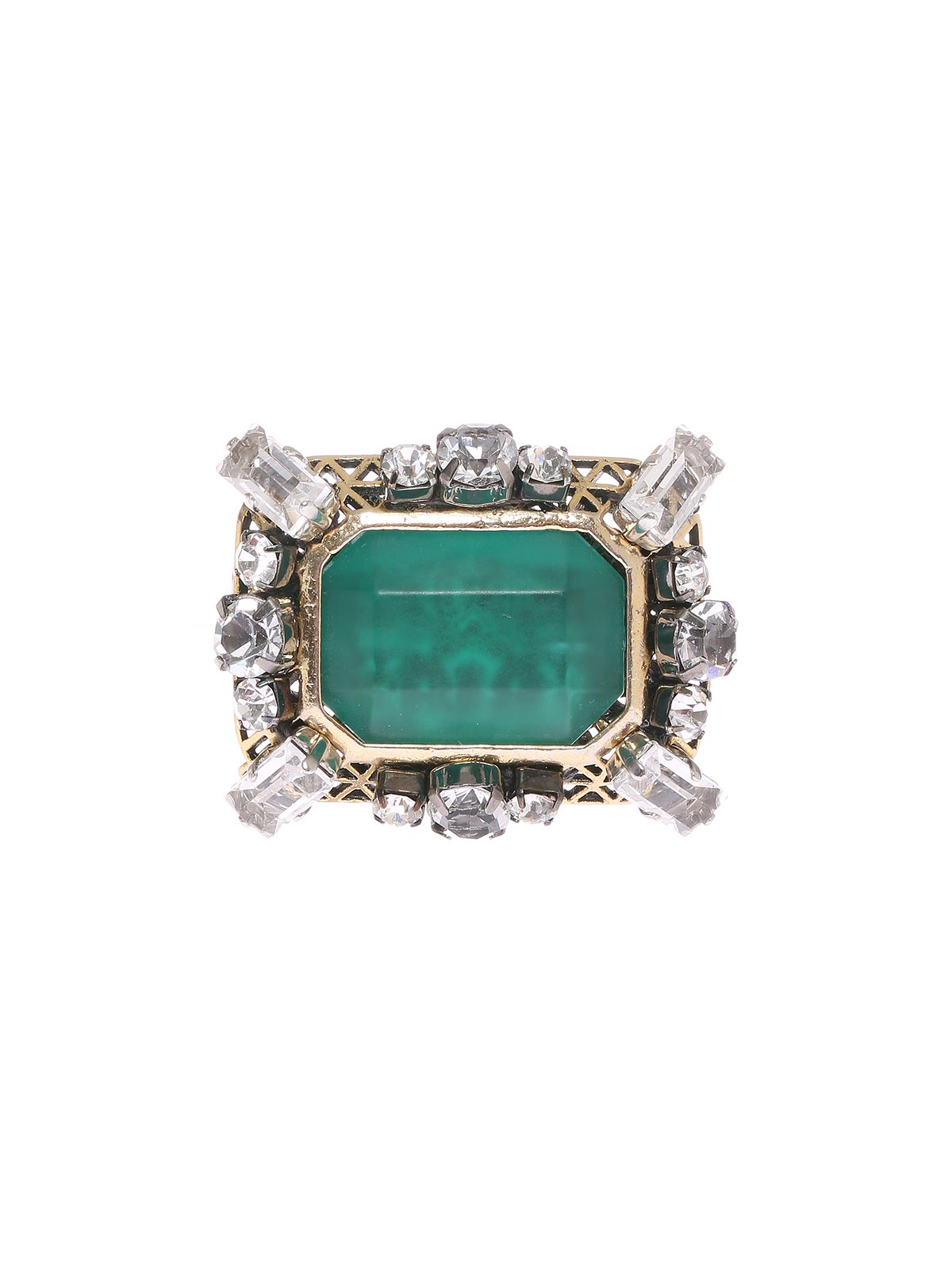 Crystal and stones brooch