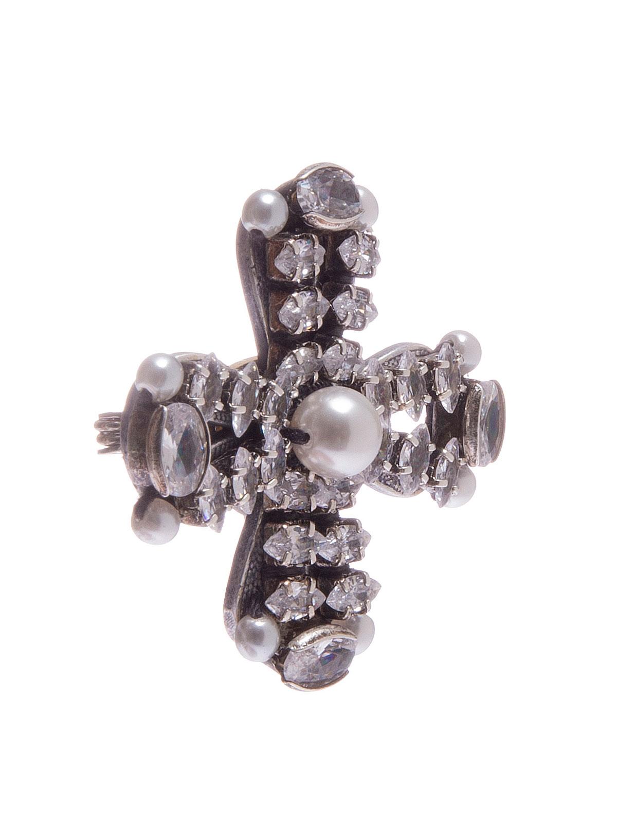 Spilla croce di pietre e perla centrale