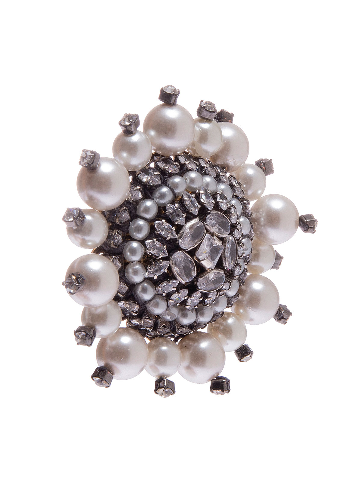 Spilla circolare ricamata con pietre e perle