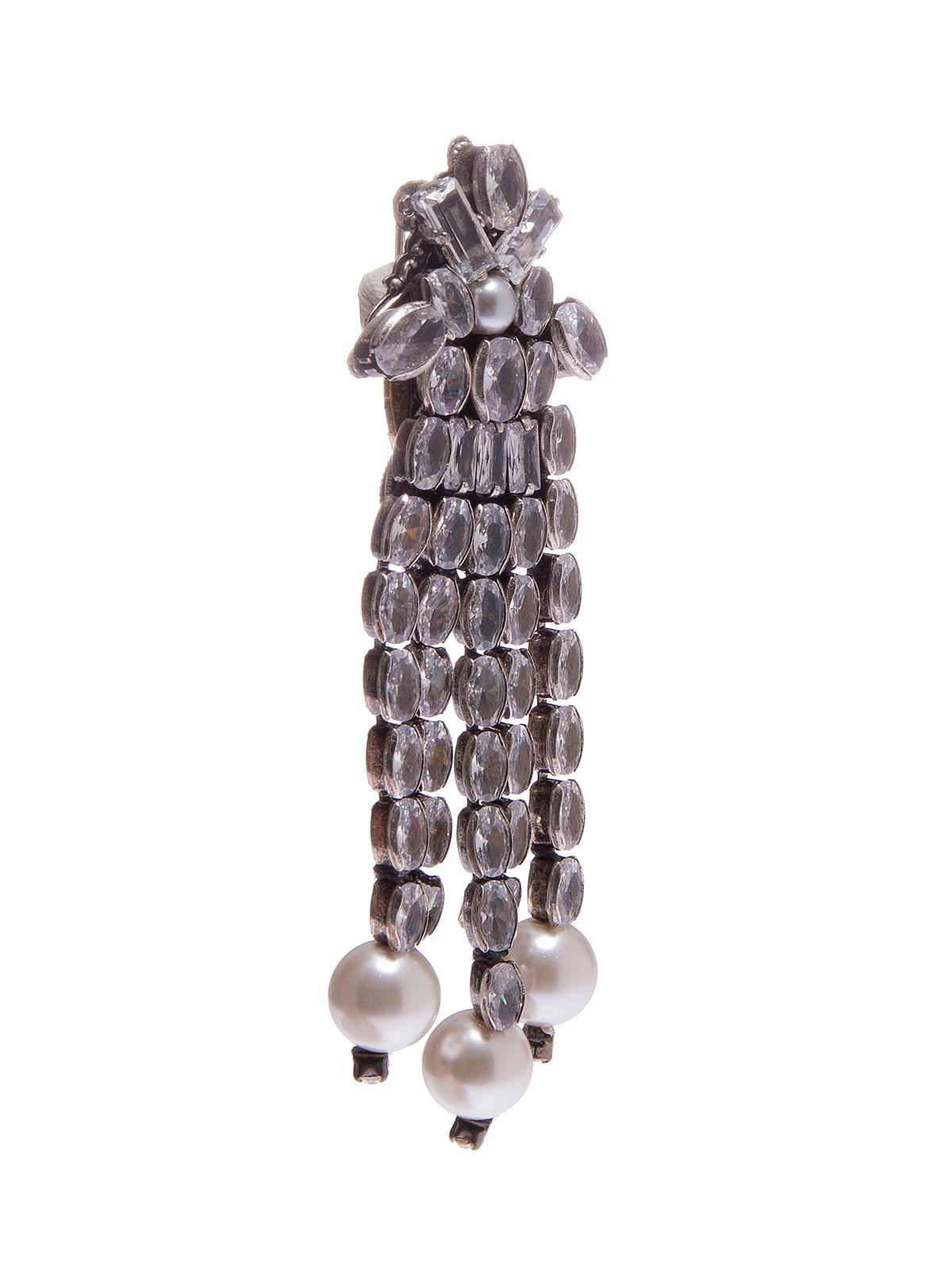 Spilla a cascata di pietre cristallo con terminali di perle.