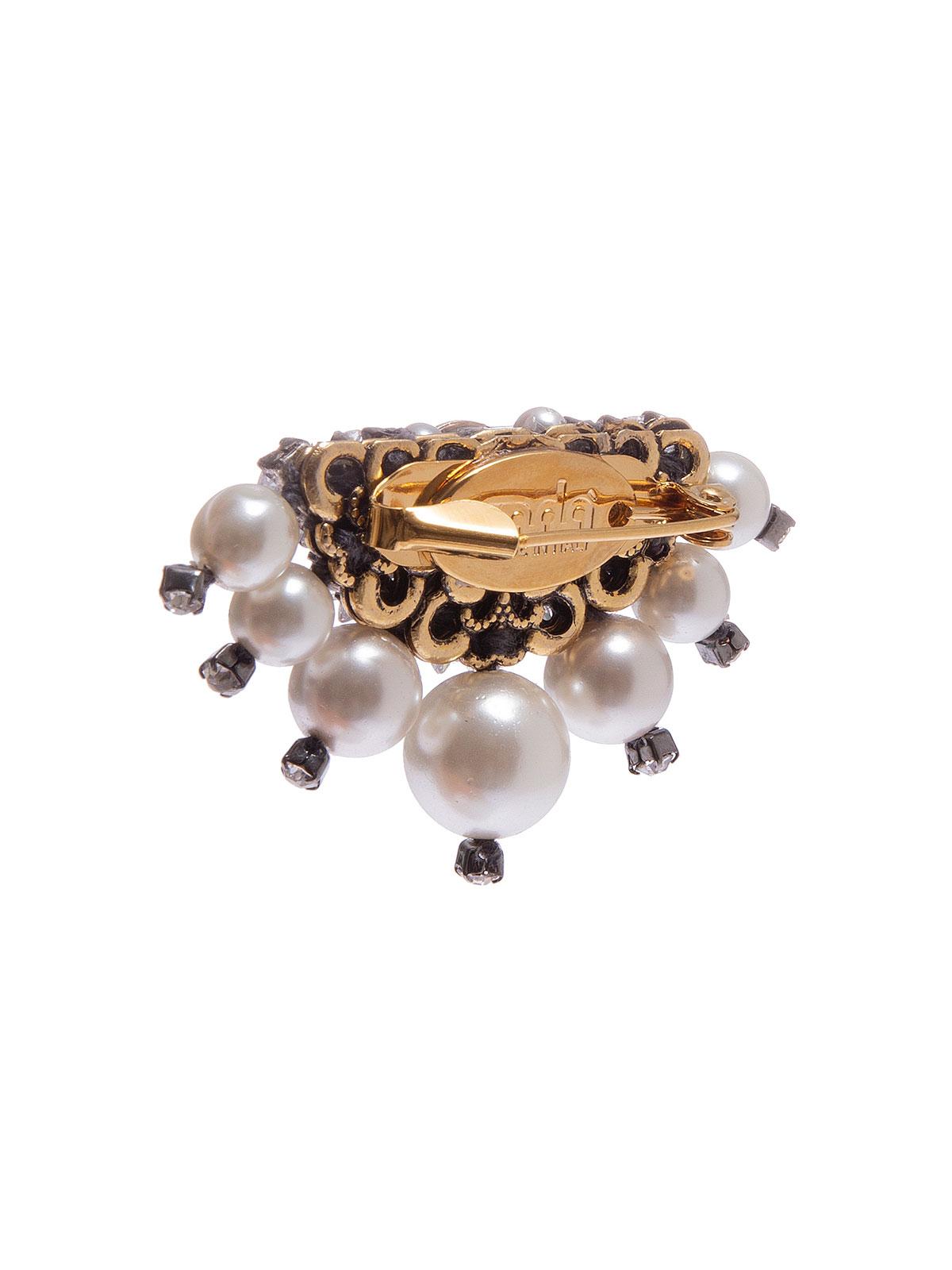 Spilla ricamata con pietre cristallo e perle
