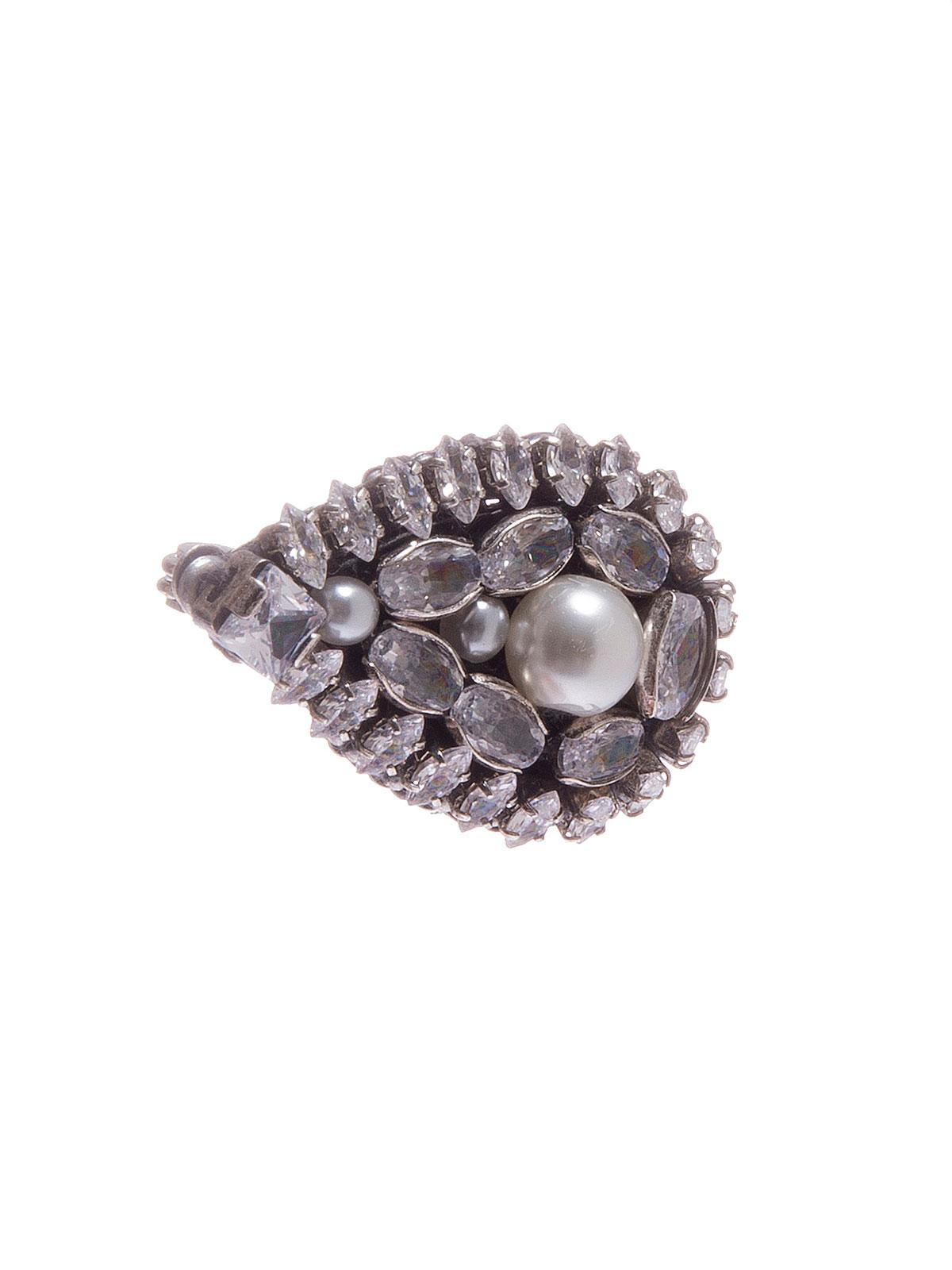 Spilla goccia ricamata con pietre cristallo e perla centrale