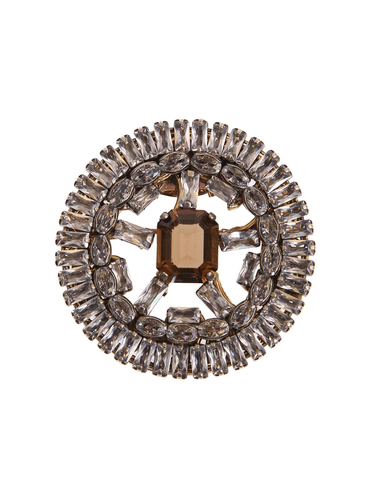Spilla cerchio di baguettes con pietra centrale