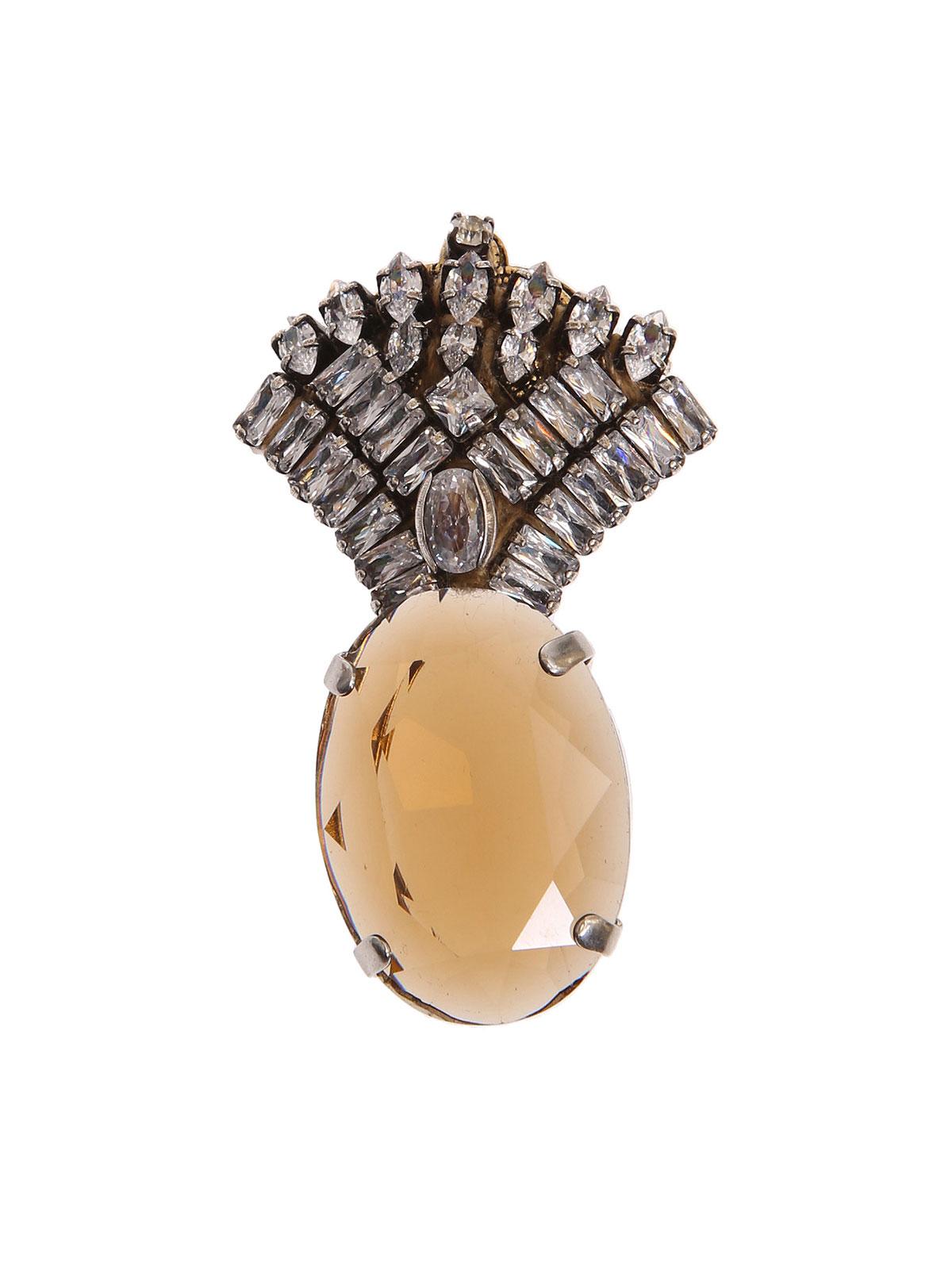 Spilla ventaglio gioiello e pietra ovale
